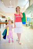 Young mother with little doughter in mall Royalty Free Stock Photography