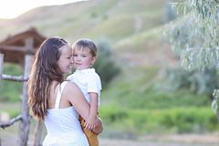 Young mother with little son. Happy family concept stock photo