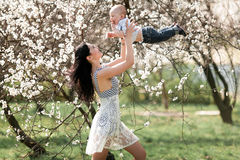 Young mother playing with  her baby on walk in blooming garden. She tosses up baby and they laugh joyful Stock Photos
