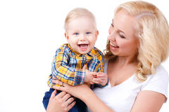 Young mother playing with her little son. Royalty Free Stock Photography