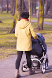 Young mother with  pram Royalty Free Stock Image