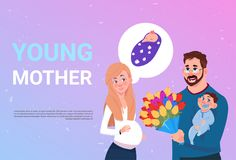 Young Mother Pregnant Woman With Husband Holding Flowers And Small Son Over Background With Copy Space. Flat Vector Illustration vector illustration