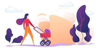 Young Mother Pushing Baby Stroller in Countryside royalty free illustration
