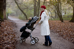 A young mother pushing a stroller in the park Royalty Free Stock Photography