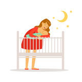 Young mother in red dress putting her newborn baby to bed colorful vector Illustration. On a white background Stock Photography