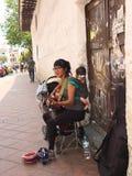 Female Singer Performing on Street, Cuenca Ecuador stock photo