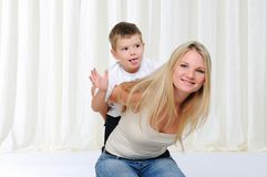 Young mother and son Stock Images