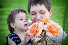 Young mother with son Stock Images