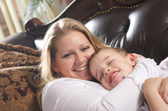 Young Mother and Son. Enjoying a Tender Moment Stock Photo