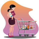 Young mother with son baby toddler in a sling pushing supermarket shopping cart full of groceries. Flat style vector illustration isolated on white background vector illustration
