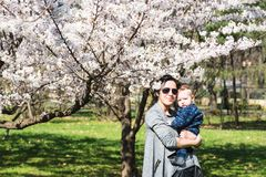 Young mother and son in the park royalty free stock photos
