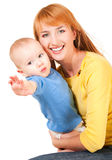 Young mother and son reaching out. Young mother holding son reaching out isolated on white Stock Image