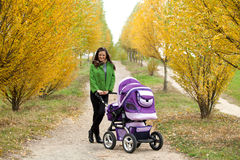 Young mother with stroller Royalty Free Stock Photography