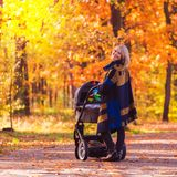 A young mother with a stroller walks through the autumn park. Walking with an infant in the open air in a pine forest. Newborn, family, child, parenthood Royalty Free Stock Photography