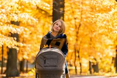 A young mother with a stroller walks through the autumn park. Walking with an infant in the open air in a pine forest. Newborn, family, child, parenthood Royalty Free Stock Photo