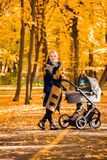 A young mother with a stroller walks through the autumn park. Walking with an infant in the open air in a pine forest. Newborn, family, child, parenthood Royalty Free Stock Images