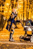 A young mother with a stroller walks through the autumn park. Walking with an infant in the open air in a pine forest. Newborn, family, child, parenthood Stock Photo