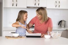 Young mother and sweet little daughter baking together happy at home kitchen in family lifestyle concept Stock Photography