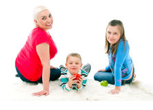 Young mother with two children Royalty Free Stock Photos