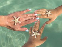 Young Mother and two sons watching starfish. Positive human emotions, feelings, joy. Funny cute child making vacations and royalty free stock photo