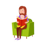 Young mother vector character. S and happy parent. Togetherness newborn face parenting lifestyle cheerful motherhood. Adorable healthy happiness family portrait Royalty Free Stock Photography