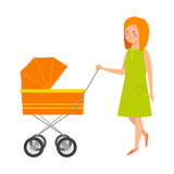 Young mother vector character. S and happy parent. Togetherness newborn face parenting lifestyle cheerful motherhood. Adorable healthy happiness family portrait Royalty Free Stock Images