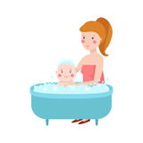 Young mother vector character. S and happy parent. Togetherness newborn face parenting lifestyle cheerful motherhood. Adorable healthy happiness family portrait Stock Images