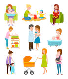 Young mother vector characters. Royalty Free Stock Photography