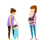 Young mother vector characters. Young mother vector characters and happy parent. Togetherness newborn face parenting lifestyle cheerful motherhood. Adorable Stock Image