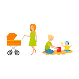 Young mother vector characters. Young mother vector characters and happy parent. Togetherness newborn face parenting lifestyle cheerful motherhood. Adorable Royalty Free Stock Images