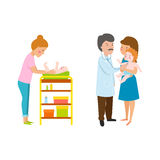 Young mother vector characters. Young mother vector characters and happy parent. Togetherness newborn face parenting lifestyle cheerful motherhood. Adorable Stock Photo