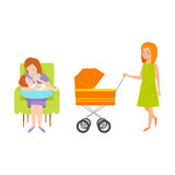 Young mother vector characters. Young mother vector characters and happy parent. Togetherness newborn face parenting lifestyle cheerful motherhood. Adorable Stock Photos