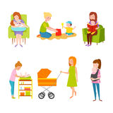 Young mother vector characters. Young mother vector characters and happy parent. Togetherness newborn face parenting lifestyle cheerful motherhood. Adorable Royalty Free Stock Photo