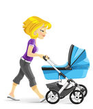 Young mother walking with a blue baby carriage Stock Image