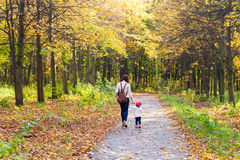 Young mother walking with her baby in an autumn Royalty Free Stock Photography