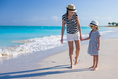 Young mother walking with her daughter along the Royalty Free Stock Image