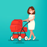 Young mother walking with a newborn that is in the pram. Vector Stock Image