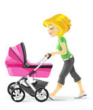 Young mother walking with a pink baby carriage Royalty Free Stock Images