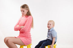 Young mother was mad at his son Royalty Free Stock Photos