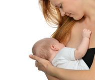 Young mother woman breastfeeding her child baby girl Stock Photography