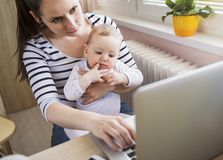 Young mother working from home Royalty Free Stock Photos