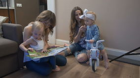 Young mothers with kids stock video footage