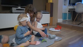 Young mothers with kids stock video
