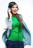 Young motion woman with headphones listening music .Music teena Royalty Free Stock Photography