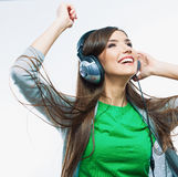 Young motion woman with headphones listening music .Music teena Royalty Free Stock Photo