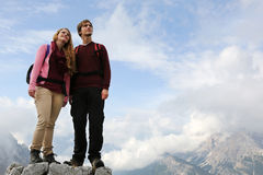 Young mountaineers on mountain top Stock Images