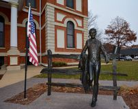 Young Mr. Lincoln. This is a picture of a young Abraham Lincoln outside the Livingston County Courthouse in Peoria, Illinois. Livingston County was part of the royalty free stock photos