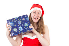 Young Mrs. Claus very happy about gift Royalty Free Stock Photos