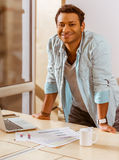 Young mulatto businessman working Royalty Free Stock Photos