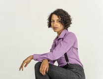 Young mulatto woman in a business suit Royalty Free Stock Images